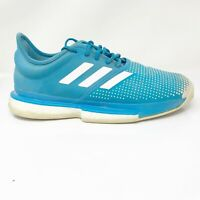 Adidas Mens Solecourt Boost Clay DB2690 Aqua Blue Running Shoes Lace Up Size 9.5