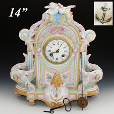 "Rare Antique French VION & BAURY 14"" Porcelain Mantel Clock, Japy Freres Clock"