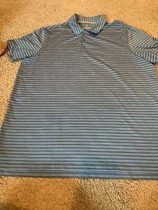 Adidas Xl Blue Striped Polo Shirt