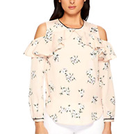 LAUREN Ralph Lauren Floral Ruffled Cold-Shoulder Top $115 Size L # 5B 398 NEW