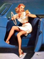 "Vintage GIL ELVGREN Pinup Girl CANVAS ART PRINT Blue Car 16X12"""