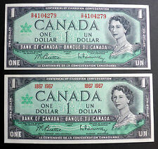 CANADA  1967 CRISP PAPER DOLLARS I WITH SERIAL# OTHER 1867-1967 CENTENNIAL