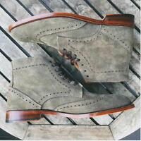 Gray Suede Leather Full Brogue Toe Wingtip High Ankle Matching Sole Laceup Boots
