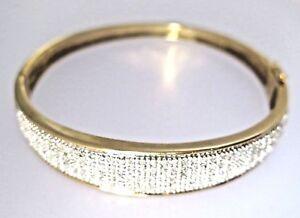 9ct 9k 375 Yellow Gold Diamond Bangle - Excellent Condition - Hallmarked