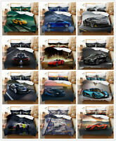 3D Cool Sports Car Duvet Cover Bedding Set Pillowcase Queen Without Comforter