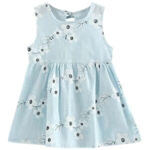 NEW Size 2-3 Years Girls Dress 100% Cotton White Flower Blue Girls Dress