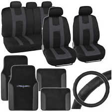 Charcoal Rome Sport Seat Cover, 2 Tone Car Floor Mat & Ergo Steering Wheel Cover