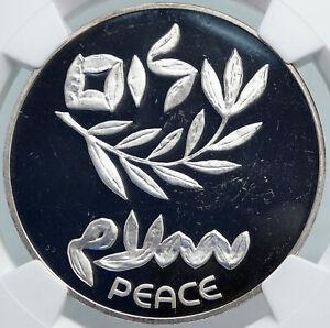 1980 ISRAEL Peace Treaty EGYPT SHALOM OLD Proof Silver 200 Lirot Coin NGC i88005