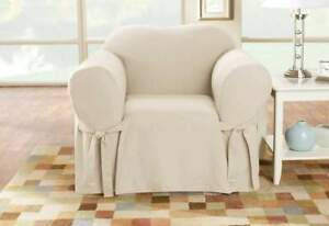 sure fit Cotton Duck One Piece  box Chair Slipcover  NATURAL washable chair