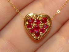 """14K Solid Yellow Gold Natural RUBIES HEART SHAPE Pendant 18""""L  Necklace 2.1Grams"""