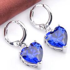 Natural Gemstone Blue Sapphire Silver Woman Wedding Danlge Hook Earrings