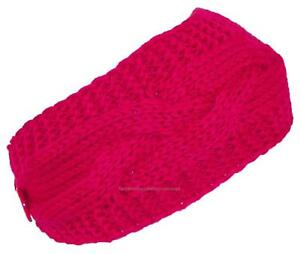 Best Winter Hats Solid Color Cable & Garter Stitch Knit Headband - Pink