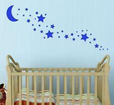 Crescent Moon + 35 Star Wall Stickers Nursery Stars Art *Any Colour*