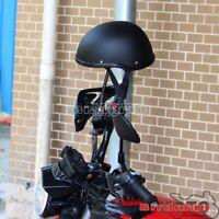 Motorcycle Novelty Low Profile Black Skull Cap Sport Style Half Helmet Medium