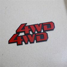 2x Red B New 4WD Metal Sticker Badge Emblem Car Sport Wheel Driven Logo 3D 4x4