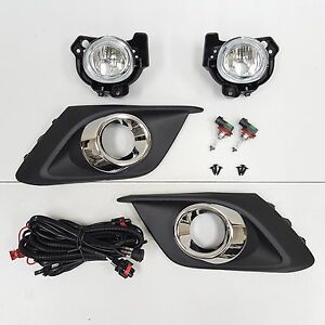 For 2014-2016 Mazda 3 Clear Lens Fog Driving Light Set w/Bezel Wires Switch Pair