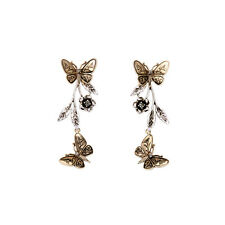 Vintage Silver Branch Gold Double Butterfly Ear Jacket New Designer Mosaico