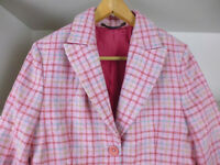BODEN PINK TWEED / CHECK JACKET - 100% WOOL - SIZE 12