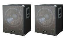 """2 x IBIZA SUONO 15"""" SUBWOOFER ATTIVO BASS Bin 800 W DJ Disco PA Sistema Audio Coppia"""