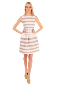 RRP €290 BRUNO MANETTI A-Line Dress Size 40 / S Striped Textured Made in Italy