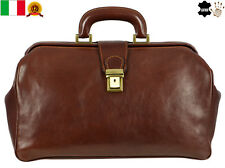 New Brown Genuine Leather Doctor Bag Vintage Satchel Medical Purse Bag Unisex