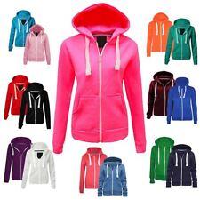 Ladies Plain Hoodie Zip Fleece Sweatshirt Womens Hooded Coat Colour Hoody Jacket