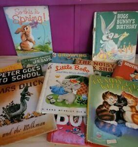 Lot of 12 Antique Vintage Childrens Wonder Books