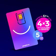 Chip/SIM Simplii México 5 GB. Paga 3 meses, el 4º es GRATIS