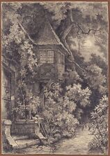 Ludwig Eduard Boll, Bay Window with garden in Moonlight, Pencil, um 1850