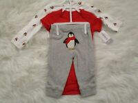 Carter's Baby Boys 3 Piece Penguin Outfit Size 6 Mo Bodysuits Knit Pants Set NEW