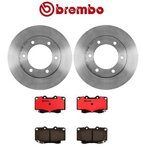 Set of 2 Front Coated Disc Brake Rotors Ceramic Pads Brembo For 4Runner Tacoma