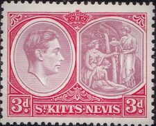 St Kitts 1938 KGVI 3d Perf 13x12 Ordinary Paper SG 73 Mint Hinged Original Gum