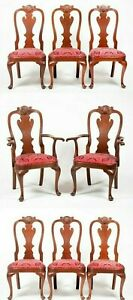 Set of 8 Stickley Mahogany Philadelphia Queen Anne Dining Chairs Red Silk Damask