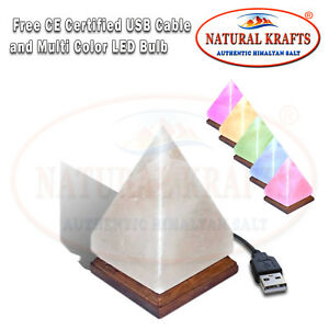 Pyramid Shape Salt USB Light Multi color LED Light Desk Light Gift Lamp