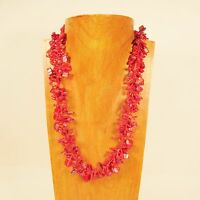 """22"""" Coral Red Stone Shell Chip Handmade Seed Bead Necklace FREE SHIPPING!"""