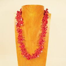 "22"" Coral Red Stone Shell Chip Handmade Seed Bead Necklace FREE SHIPPING!"
