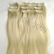 CLIP IN 100% Real HUMAN HAIR EXTENSIONS LIGHT BLONDE #22  22INCH  80G
