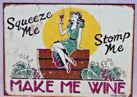 Make Me Wine Retro Tin Metal Sign Made USA Bar Kitchen Funny Picture New Gift