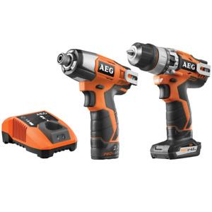 AEG 12V 2.0/4.0Ah Lithium Cordless Hammer Drill & Impact Driver Kit Pack Combo