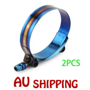 """2x 72mm - 80mm 301 Stainless Steel T-Bolt Clamp For 2.83"""" - 3.14"""" Silicone Hose"""