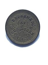 Troy, Ny- 1863 Robinson & Ballou Grocers Civil War Store token super old