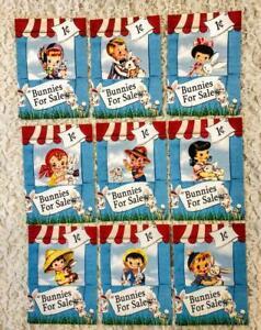 Set of 9 Cards~Vintage Easter Bunnies for Sale~Pocket Pen Pal Cards only~#165N