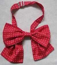 Pussy bow tie vintage 1980s punk femme réglable rouge vif blanc