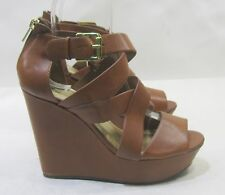 "new lady Tan 5""Wedge Heel 1.5""Platform Open Toe Ankle Strap Sexy Shoes Size 9"