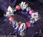 Bracciale con Conchiglie Sfere in Argento tibetano e Charms Colore Viola