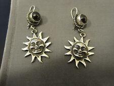 ladys sterling silver obsidian happy  (face-in-sun) drop pierced earrings