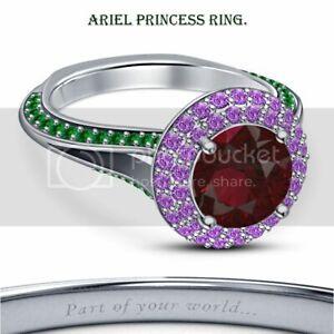 RD Multi-Stone 14k White Gold Gp .925 Disney Ariel Princess Halo Engagement Ring