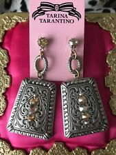 Tarina Tarantino Vintage Dusty Rosalin Western Silver Shade Swarovski Earrings