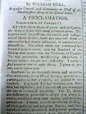 <1812 WAR OF 1812 newspaper WILLIAM HULL PROCLAMATION Invades Canada at Detroit