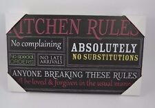 Wood Sign Plaque Kitchen Rules No Complaining No Late Arrival Inspirational 5x7